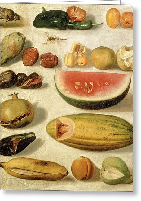 Still Life With Fruit With Scorpion And Frog Greeting Card by Hermenegildo Bustos