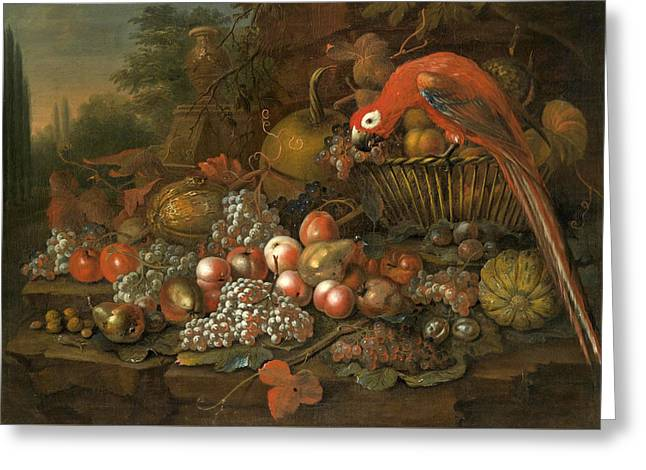 Still Life With Fruits And A Parrot Greeting Card by George William Sartorius