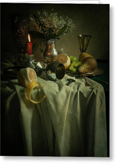 Still Life With Fruits And Flowers Greeting Card by Jaroslaw Blaminsky
