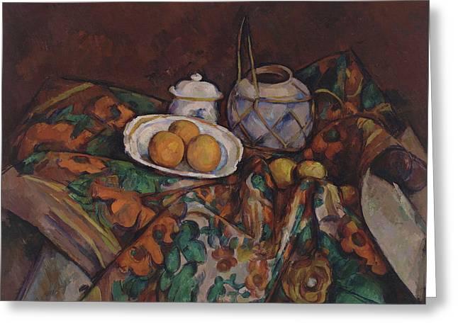 Still Life With Ginger Jar  Sugar Bowl And Oranges   Greeting Card