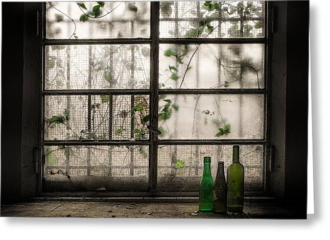 Still-life With Glass Bottle Greeting Card by Vito Guarino