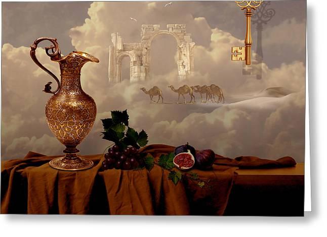 Greeting Card featuring the digital art Still Life With Gold Key by Alexa Szlavics
