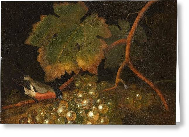 Still Life With Grapes And A Bullfinch Greeting Card by MotionAge Designs