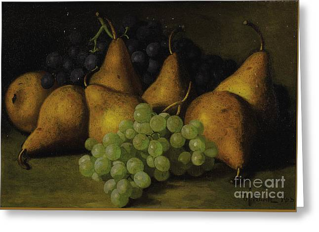 Still Life With Grapes And Yellow Pears Greeting Card by Celestial Images