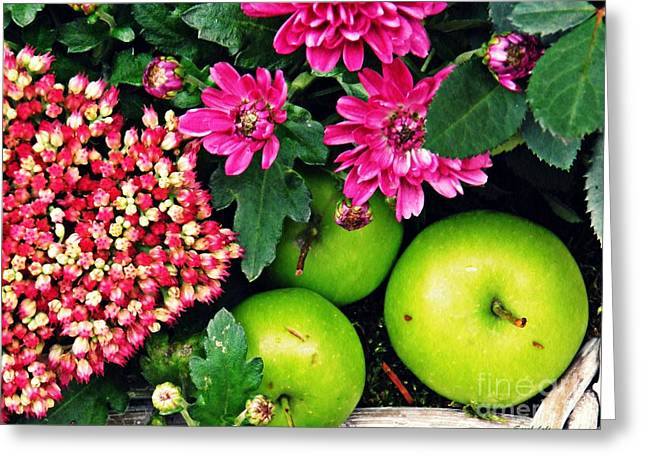 Still Life With Green Apples  Greeting Card
