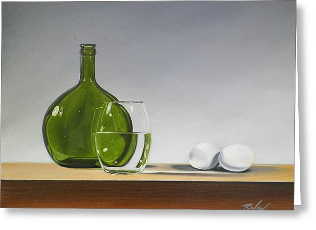 Still Life With Green Bottle Greeting Card by RB McGrath