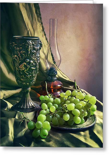 Still Life With Green Grapes Greeting Card