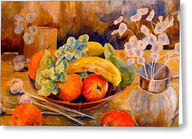 Still Life With Honesty Greeting Card by Wendy Head