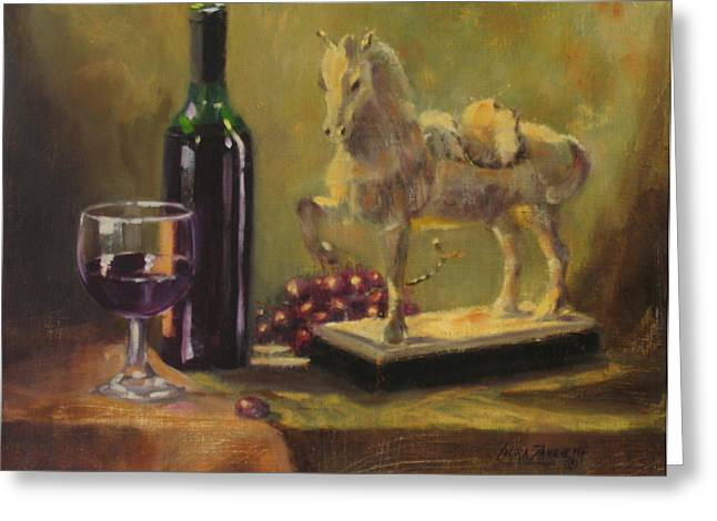 Still Life With Horse Greeting Card by Laura Lee Zanghetti