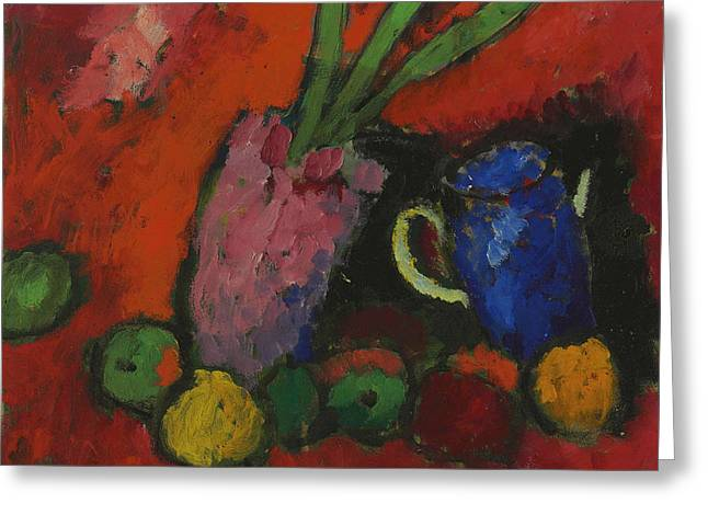 Still Life With Hyacinth, Blue Pitcher And Apples Greeting Card