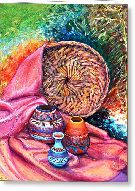 Still Life With Indian Pottery  Greeting Card