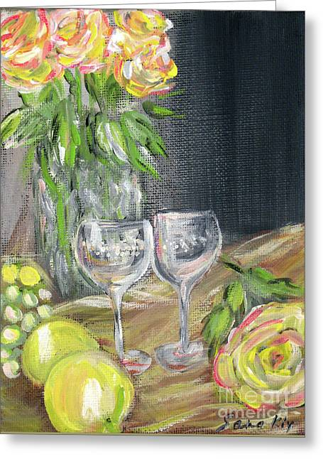 Still Life With Lemons, Roses  And Grapes. Painting Greeting Card