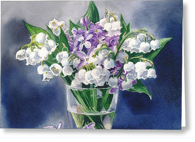 Still Life With Lilacs And Lilies Of The Valley Greeting Card by Sergey Lukashin