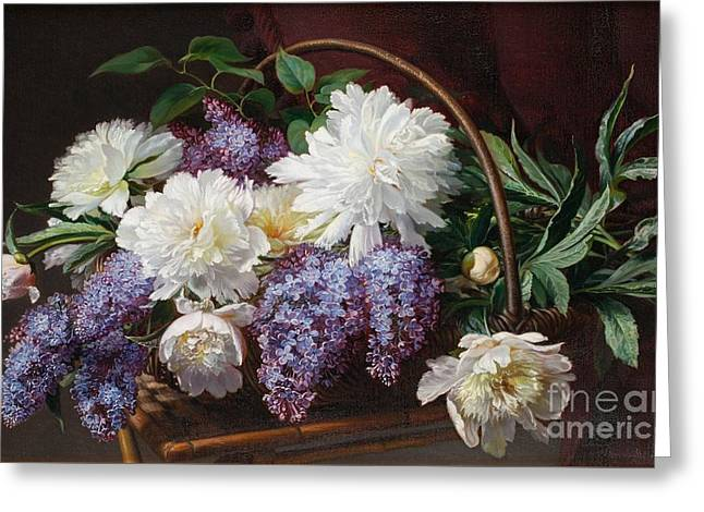 Still Life With Lilacs Greeting Card by Celestial Images