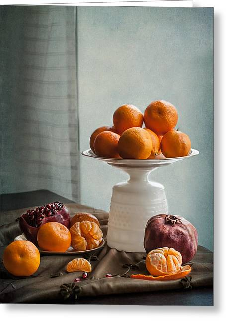 Still Life With Mandarins And Pomegranates Greeting Card by Maggie Terlecki