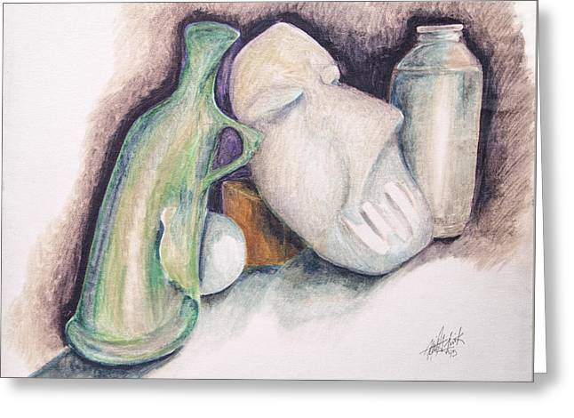 Greeting Card featuring the drawing Still Life With Mask by Keith A Link