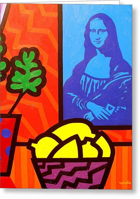 Still Life With Matisse And Mona Lisa Greeting Card by John  Nolan