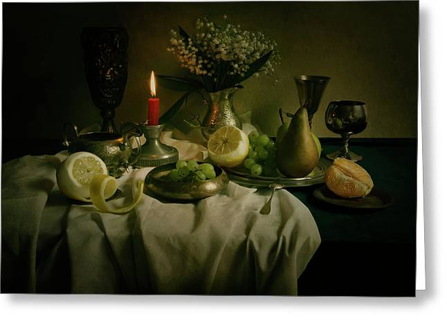 Still Life With Metal Pots And Fruits Greeting Card by Jaroslaw Blaminsky