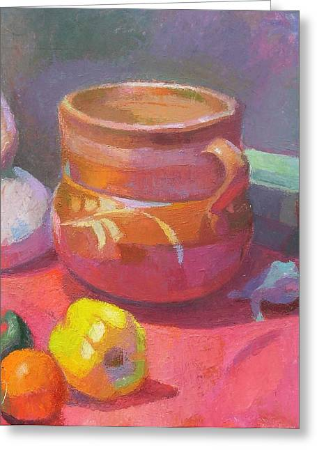 Interior Still Life Paintings Greeting Cards - Still Life With Mexican Pot Greeting Card by Ken Massey