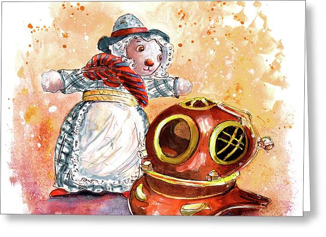 Still Life With Mouse And Diving Helmet In Hawes Greeting Card by Miki De Goodaboom