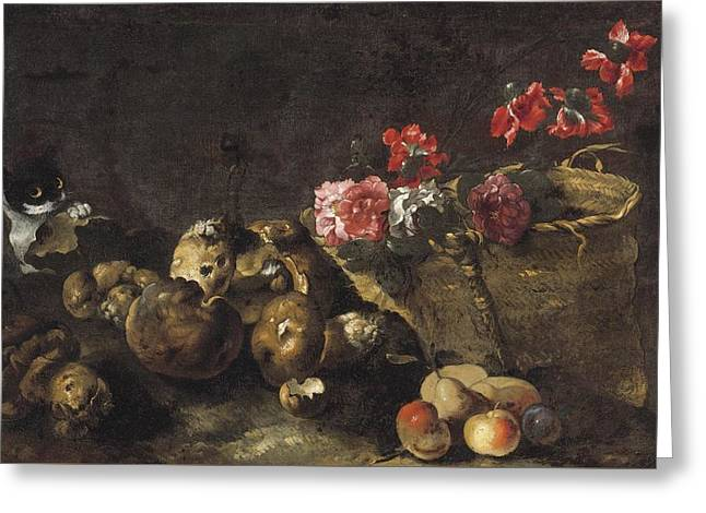 Still Life With Mushrooms, Fruit, A Basket Of Flowers And A Cat Greeting Card by Celestial Images
