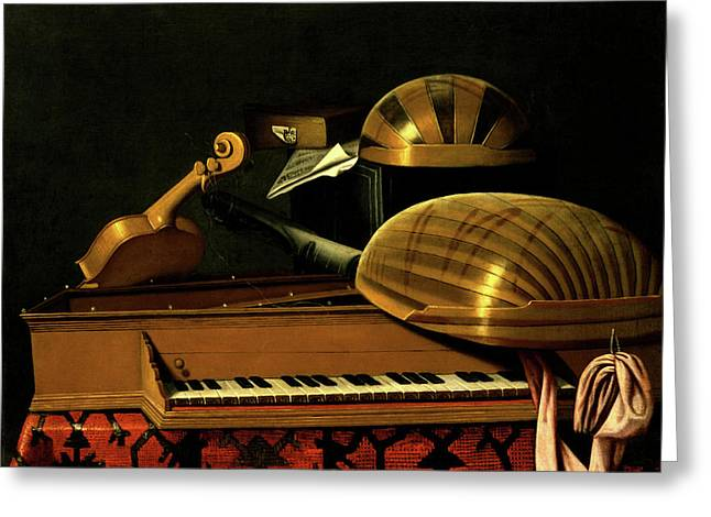 Still Life With Musical Instruments And Books Greeting Card