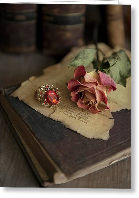 Still Life With Old Books, Dried Rose And Big Ring Greeting Card by Jaroslaw Blaminsky