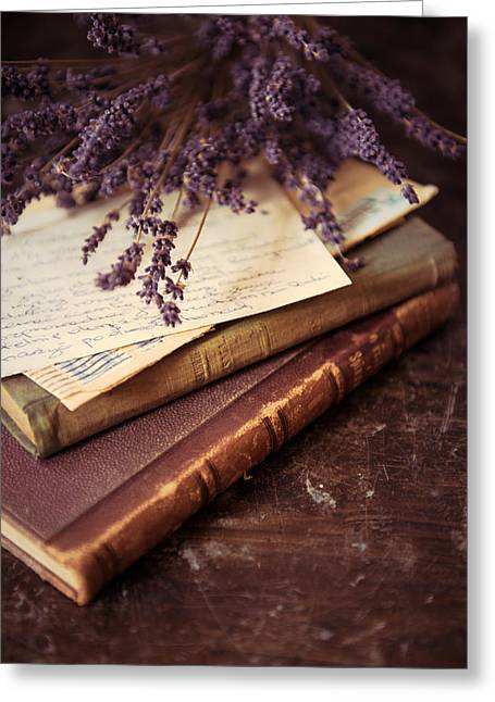 Still Life With Old Letters And Books Greeting Card