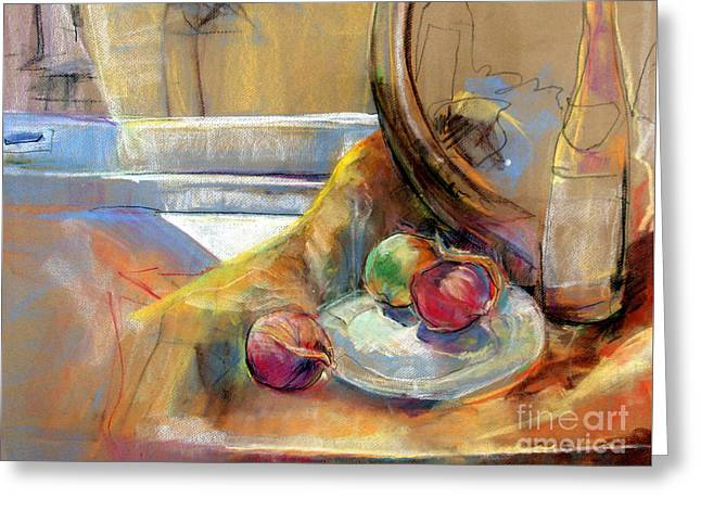 Still Life With Onions Greeting Card by Daun Soden-Greene