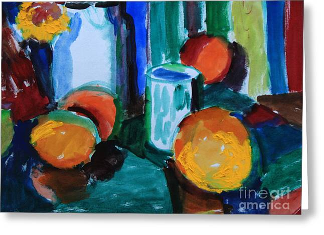 Still Life With Orange Greeting Card by Andrey Semionov