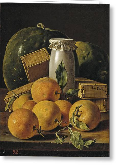 Still Life With Oranges Boxes Of Candy And Watermelons Greeting Card by Luis Egidio Melendez
