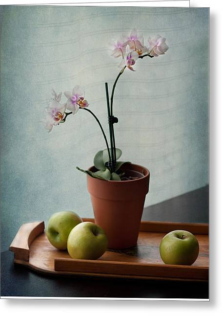 Still Life With Orchids And Green Apples Greeting Card by Maggie Terlecki