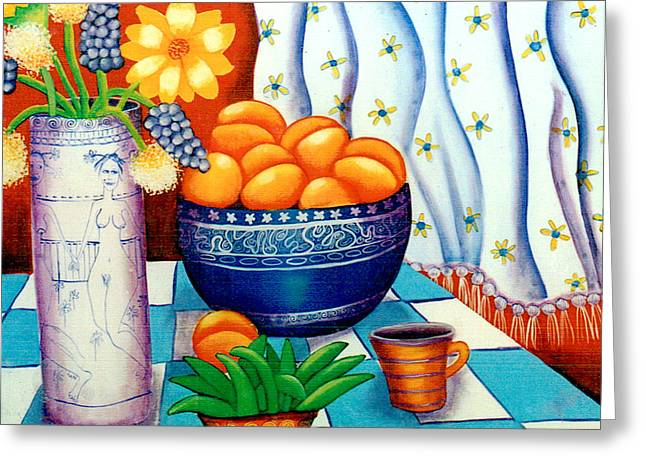 Still Life With Painted Vase Greeting Card by Jennifer England