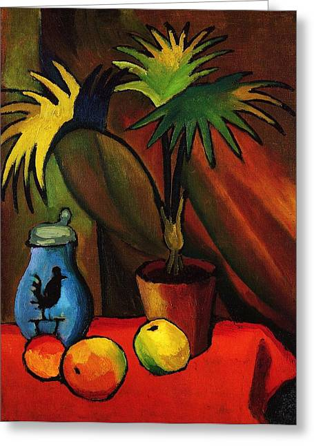 Macke Greeting Cards - Still Life with Palm Greeting Card by Pg Reproductions