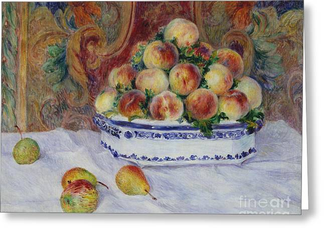 Still Life With Peaches, 1881 Greeting Card by Pierre Auguste Renoir