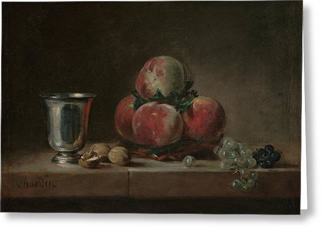 Still Life With Peaches, A Silver Goblet, Grapes, And Walnuts Greeting Card by Jean-Simeon Chardin