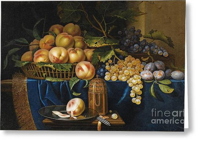 Still Life With Peaches Greeting Card by Celestial Images