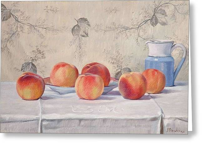 Still Life With Peaches Greeting Card by Ernest Moulines