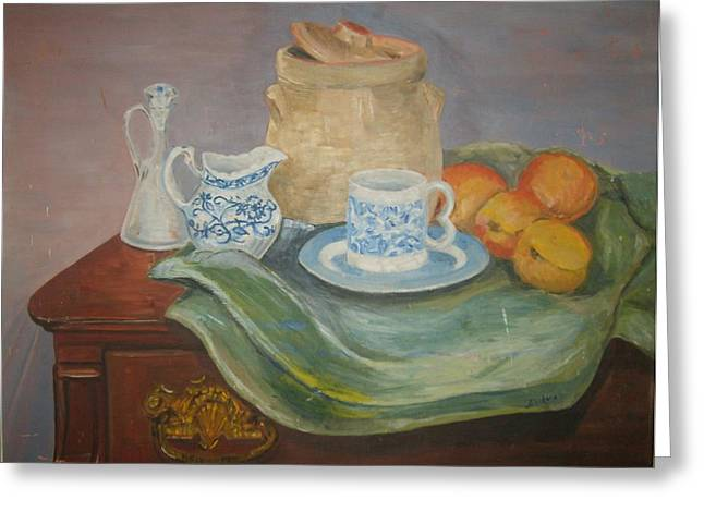 Still Life With Peaches Greeting Card by Joseph Sandora Jr
