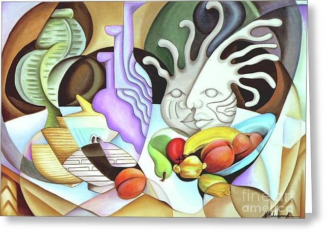 Still Life With Peaches Greeting Card by Marcella Muhammad