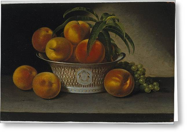 Still Life With Peaches Greeting Card by MotionAge Designs