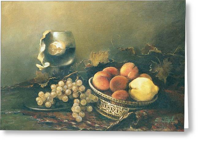 Still-life With A Basket Greeting Cards - Still-life with peaches Greeting Card by Tigran Ghulyan