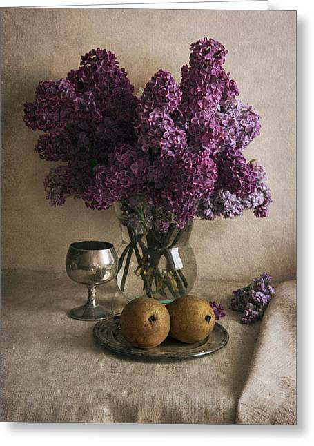 Greeting Card featuring the photograph Still Life With Pears And Fresh Lilac by Jaroslaw Blaminsky
