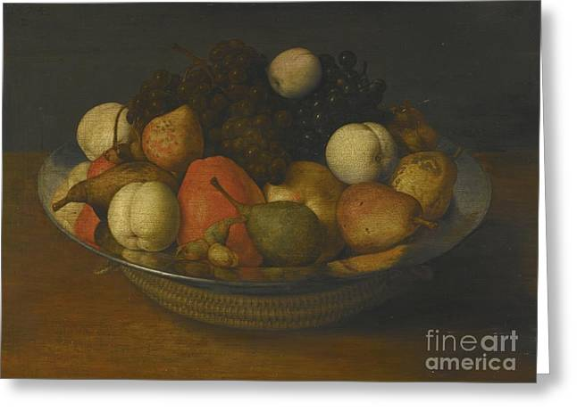 Still Life With Pears, Apples And Grapes In A Pewter Dish Greeting Card