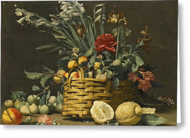Still Life With Pears Apples Chrysanthemum And Other Flowers In A Basket Beside Two Large Lemons Greeting Card by Simone del Tintore