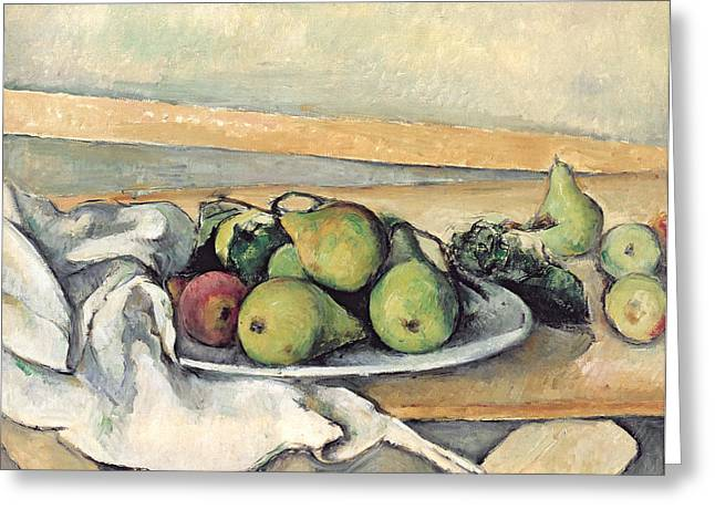 Still Life With Fruit Greeting Cards - Still Life With Pears Greeting Card by Paul Cezanne