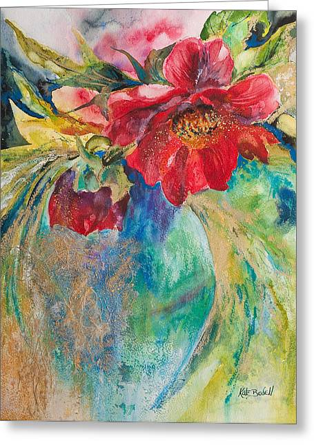 Still Life With Peonies Greeting Card by Kate Bedell