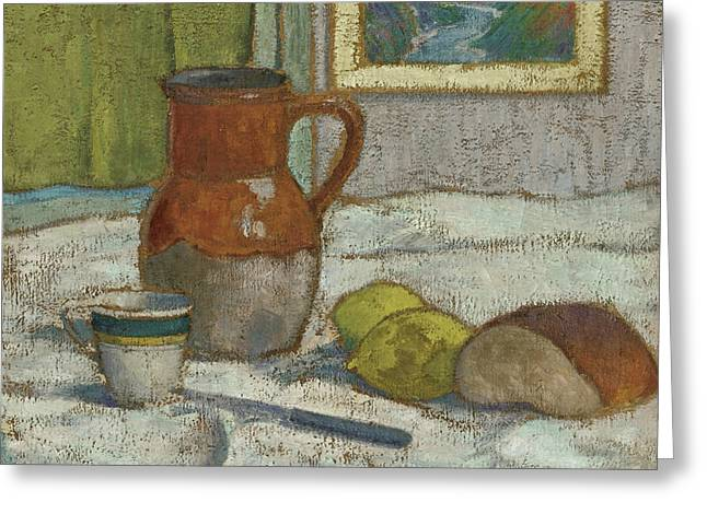 Still Life With Pitcher And Cup Greeting Card by Emile Bernard