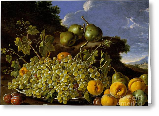 Still Life With Plate Of Grapes, Peaches, Pears And Plums In A Landscape Greeting Card