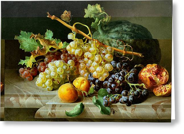 Still Life With Pomegranate Grapes And Melon Greeting Card